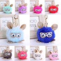 Wholesale owl hair for sale - Group buy Free DHL Styles Lovely Glasses Owl Keychain Pompom Keychains Hair Ball Keyrings Car Key Holder Women Bags Pendant Keyfob Gift H576Q F