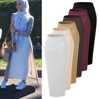 maxi vestidos islamicos al por mayor-Vestidos Faldas Mujer Moda 2018 EAU Abaya Dubai Kaftan Musulmán Largo Falda Maxi Vestido Mujeres Turcas Faldas Islámicas Ropa