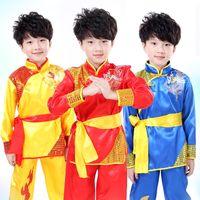 ropa wushu al por mayor-Los niños de manga larga de Taekwondo Dobok Wushu traje Kimono Judo ropa traje de Kung Fu chino Tai Chi uniforme de artes marciales