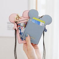Wholesale china lanyards resale online - 7 Color Happy Dream Designer Bags Coin Purse Zipper Cute Cartoon Round Ears Girl Kids Credit Card Holder Lanyard Neck Strap Bag A52201