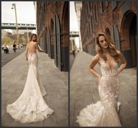 Wholesale illusion neckline mermaid gowns resale online - 2020 New Berta Lace Wedding Dresses Mermaid Plunging Neckline Illusion Bodice Sweep Train Sexy Open Back Bridal Gowns