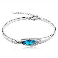 vente de bracelets diamant bleu achat en gros de-Vente chaude de mode Saphir Bracelets Bijoux Nouveau Style Charmes Bleu Autriche Bracelet De Diamants Femme Bracelet Verre Chaussures Main Bijoux
