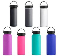 Wholesale stainless thermal water bottles resale online - New oz oz Flask Double Wall Vacuum Insulated Stainless Steel Water Bottle W Flex cap with Logo