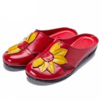 flache blumen vintage schuhe großhandel-PLARDIN 2019 Sommer Frauen Hausschuhe Abdeckung Zehen handgemachte Blume Vintage-Stil Frauen Rutschen flach mit Schuhen Frau