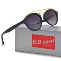 tonos redondos para hombre. al por mayor-Nueva marca de moda Diseñador de gafas de sol Hombres Mujeres gatsby Retro Vintage gafas de gafas redondas de marco Diseñador Gafas de sol con estuches y estuche