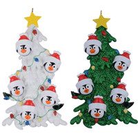 Wholesale penguin decor resale online - Resin Penguin Family Of Christmas Ornaments With White Tree As Personalized Gifts Holiday Home Decor Hand Painted Souvenir