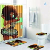 sexy americanas pretas venda por atacado-Frete grátis New banheiro define tapete tapete cortina de chuveiro Africano Mulher do toalete assento banheiro tampa tapete antiderrapante e cortina de chuveiro