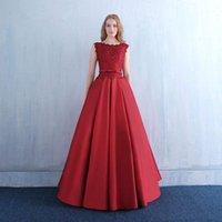 vestidos de noche de satén rojo cuello v al por mayor-Scoop Neck Vestidos de noche de satén con bolsillos 2019 Red Burgundy piso de longitud vestidos de noche con apliques de encaje
