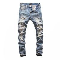jeans com marca de zíper venda por atacado-2019 Novas jeans motociclista reta jeans skinny Casual Calças Cowboy famosa marca Zipper Designer Hot Sale Mens Designer Jeans 001