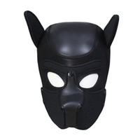 Wholesale dog collars bondage online - Fetish PU Leather Sponge SM Hood Dog Cosplay Mask Head Nightclub performance Harness Slave Collar Bondage