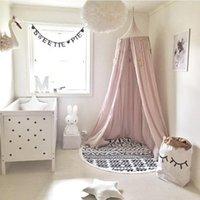 cortinas miúdo venda por atacado-Atacado-Kid Bed Dossel Bed Curtain Redonda Dome Pendurado Mosquito Net Tent Curtance Moustiquaire Zanzariera Baby Playing Home KlamboeBeige