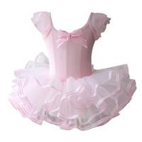 leotardos de ballet rosa al por mayor-Pink / Yellow Ballet Tutu Dress Girls Gimnasia Leotardo Dancewear Ballet Ropa Niños Bailarina Disfraz Tutus de descuento