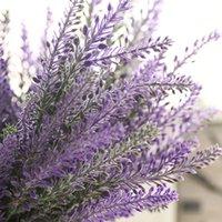 lavanda francesa al por mayor-Francés Romántico Día de San Valentín Flores Violetas Provenza Lavanda Flores Artificiales Grano Boda Decorativo Plantas de Jardín A1350