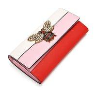 tierisches leder großhandel-Frauen Designer Echtes Leder Brieftasche Marken Biene Geldbörse Tier Stil Weibliche DREI Farbe Tasche Mädchen Lange Leder Brieftasche Mode Heißer Verkauf Neueste