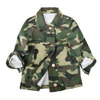 ingrosso giacca verde delle ragazze dell'esercito-Ragazze Casual Army Green Autunno Cappotto Abbigliamento Tops Abbigliamento Camouflage Ragazze Abbigliamento per bambini Giacca a maniche lunghe