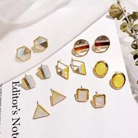 Wholesale acrylic earrings patterns for sale - Group buy Stocked Hot sale geometric earrings acrylic earrings triangle color pattern stud earrings for women Jewelry accessory