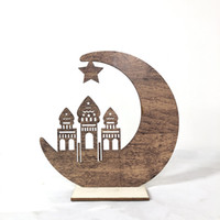 ornement de lune achat en gros de-Creux Out Moon Artisanat Eid Mubarak Ramadan Décoration Cinq Étoiles Étoile Ornement Artisanat En Bois Matériel Ventes Chaudes 7 5yfa C1