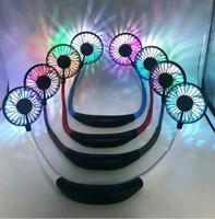 ledli soğutma fanları toptan satış-Katlanabilir Boyun Bandı Mini boyun Fan USB Kamp spor Yaz soğutucu için Soğutma Soğutma Fanı LED Mini Boyun Çift Hayranları KKA6849