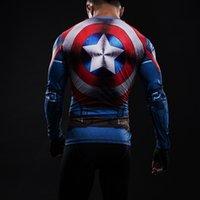 ingrosso collant capitano americano-Maglietta di compressione a maniche lunghe a maniche lunghe da uomo Marvel America Captain Captain War stampata 3D t-shirt cosplay 2017 estate collant fitness