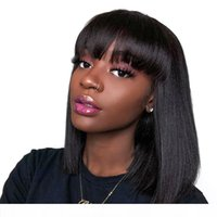 Wholesale factory bang resale online - Bob bangs Lace Front Wigs Baby Hair Pre Plucked Hair Full End For Black Women tiffany direct sell factory natural hairline