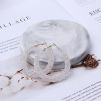 boncuk küpeleri toptan satış-Kadın Big Shiny Kristal Bohemian Boncuk Küpe Metal Yuvarlak Bildirimi Küpe Moda Kulak Takı EB711 için Hoop Küpeler