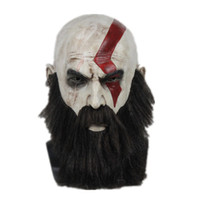 pelucas barbas al por mayor-God of War 4 Kratos Cosplay Máscara con Peluca Barba Látex de Halloween Cara completa Partes del partido Máscaras de horror Casco