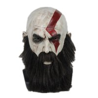 ingrosso kratos god-God of War 4 Kratos Cosplay Maschera con parrucca Barba Halloween Latex pieno faccia Party Puntelli Maschere horror Casco