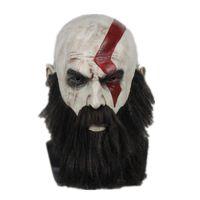 латексная маска ужаса оптовых-God of War 4 Kratos Cosplay Mask with Wig Beard Halloween Latex full face Party Props Horror Masks Helmet
