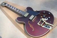vibradores rápidos al por mayor-Entrega rápida buen estilo Hot 335 sistema de vino de color rojo oscuro de la guitarra eléctrica oscilante vibrador semi-hueco QTP 5