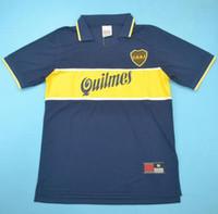 ingrosso cime junior l-Top 97 98 Boca Juniors Retro Jerseys Classic Vintage Maradona Soccer jersey 1997 1998 GAGO TEVEZ maglia da calcio BENEDETTO maillot de foot