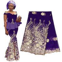 tela de lentejuelas africanas al por mayor-2019 de alta calidad Royal Blue African Gold Sequin Lace French Lace Fabric para el banquete de boda bordado African Lace Fabric BF0017