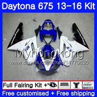 триумф 675 синий белый обтекатель оптовых-Кузов для Triumph white blue light Daytona-675 Daytona 675 13 14 15 16 кузов 328ХМ.6 Daytona675 Daytona 675 2013 2014 20 15 2016 Обтекатели