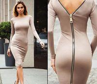 fa29edd1f5d2 Vestito aderente da donna a maniche lunghe con zip e maniche lunghe vestito  sexy da donna con maniche lunghe