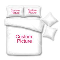 conjunto de roupa de cama de edredon de cetim vermelho venda por atacado-B * Customize Dropshipping 3D Conjuntos de Cama Impresso Capa de Edredão Set Queen King Twin Size