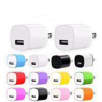 renkli şarj cihazları toptan satış-Renkli ABD AC Ana Seyahat Duvar şarj cihazı Oto Güç Adaptörü 5V 1A Adaptör Iphone 7 için 8 x 11 Samsung s8 s9 s10 Android telefon mp3 pc
