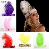 ingrosso accessori per abiti da piuma-Feather fasce Flapper Sequin Charleston Dress Accessori Costume Hairband Copricapo Donna Ladies Fashion Party Jewelry