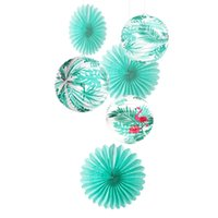 minze grüne hochzeit dekorationen großhandel-6 stücke Mint Green Hawaiian Party Dekoration Set Flamingo Palm Blätter Akkordeon Papierlaternen Seidenpapier Fans Hochzeit Luau