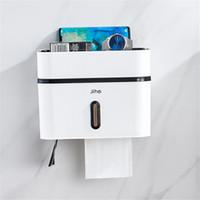 dispensadores de papel higiénico al por mayor-Soporte de papel higiénico Caja de papel higiénico de baño de plástico creativo Caja de almacenamiento de papel montada en la pared a prueba de agua Dispensador de papel higiénico