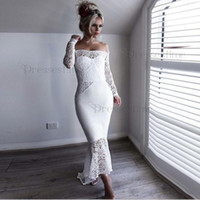 Wholesale purple black mermaid wedding dress for sale - Group buy 2020 NEw African White Off Shoulder Bridesmaid Dresses Lace Long Sleeve Mermaid Wedding Guest Dress Short Maid of Honor Cheap Cocktail Gowns