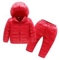 Wholesale parkas baby boy winter resale online - Children Winter Clothes Sets Hooded Cotton Padded Jacket Pants Baby Boys Girls Warm Parka Coat Kids Winter Suits For