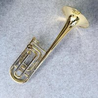 Wholesale brass trombone resale online - Professional Bach Bb F Tune Tenor Trombone New Arrival Brass Gold Lacquer Playing Horn Musical Instrument with Case