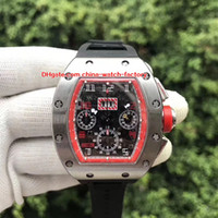 Wholesale high quality rubber watch band resale online - 3 Color Hot Selling High Quality mm x mm RM Flyback Stainless Steel Rubber Bands Transparent Mechanical Automatic Mens Watch Watches