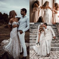 Wholesale simple layered wedding dresses for sale - Group buy Vintage Crochet Lace Boho Wedding Dresses Sweetheart Mermaid Mesh Layered full skirt Vestido De Noivas Beach Rue De Seine