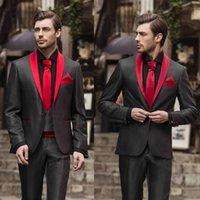 hommes blazer rouge revers noir achat en gros de-Black Mens mariage smokings Slim Fit Red Shawl Lapel Groom Pantalons costumes 2 pièces formelle meilleur hommes Business Blazer