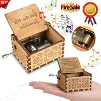 Wholesale clockwork music box for sale - Group buy Wooden Music Box Hand Clockwork Birthday Party Gift You Are My Sunshine US