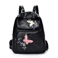 ingrosso porcellana della scuola dello zaino-Ricamo Donne Zaino Moda Farfalla Fiori Sacchetti di scuola per ragazze Fashion Brand zaini per le donne 2018 China Style # 212454