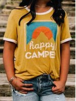Wholesale happy beach for sale - Group buy Sleeved Yellow Holiday Tees Tops Happy Camp Summer Tshirts Women Casual Beach O neck Short