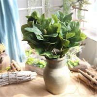 manolya dekor toptan satış-5 Adet / grup Yapay Manolya Yaprağı Ihracat Sahte PU Çiçek Kapalı Yeşil Bitki Duvar Simülasyon Çiçekler Ev Dekor Dekoratif H161 Bırakır