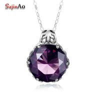 Wholesale vintage amethyst necklace for sale - Group buy Szjinao Real Sterling Silver Statement Necklaces Pendants Women Luxury Round Shape Amethyst Vintage Jewelry