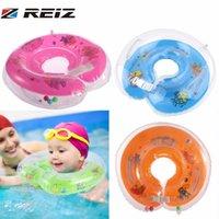 bebek yüzükleri toptan satış-REIZ 1 Adet Yeni Bebek Yardımları Bebek Yüzme Boyun Şişme Tüp Şamandıra Emniyet Halkası Renkli Plastik Karikatür Ayarlanabilir En Iyi Seçim